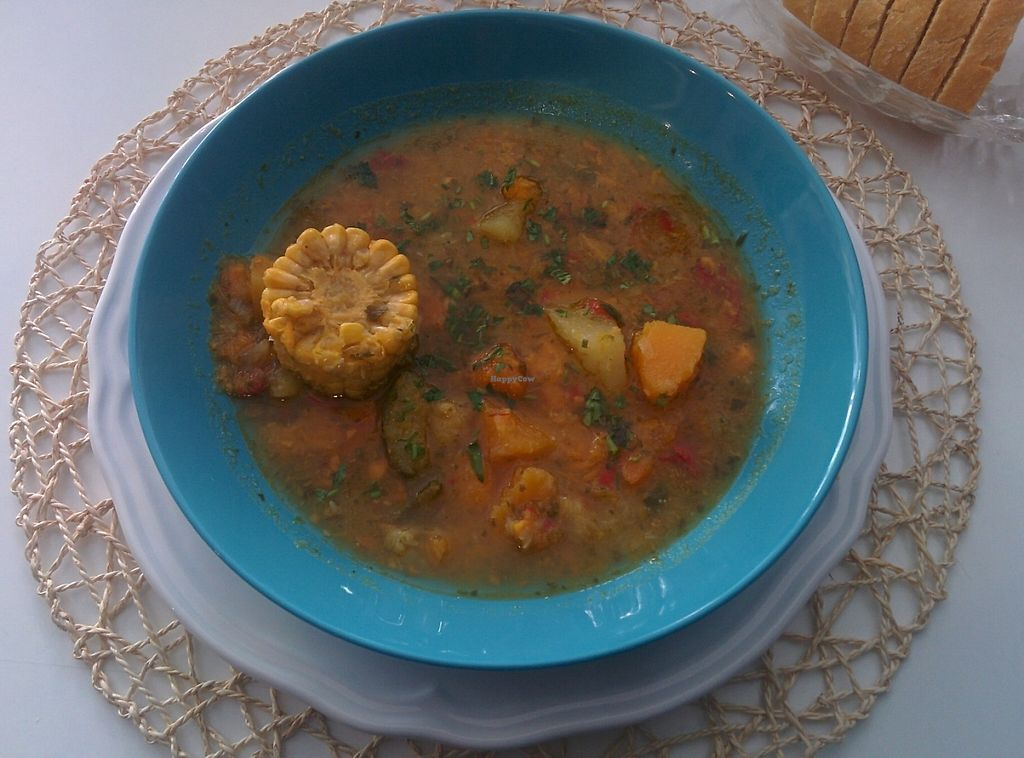 """Photo of Cookaluzka  by <a href=""""/members/profile/Sandro%20Zara"""">Sandro Zara</a> <br/>A superb vegan venezuelan sancocho, a soup with corn and chopped vegetables.  <br/> May 10, 2017  - <a href='/contact/abuse/image/76497/257566'>Report</a>"""