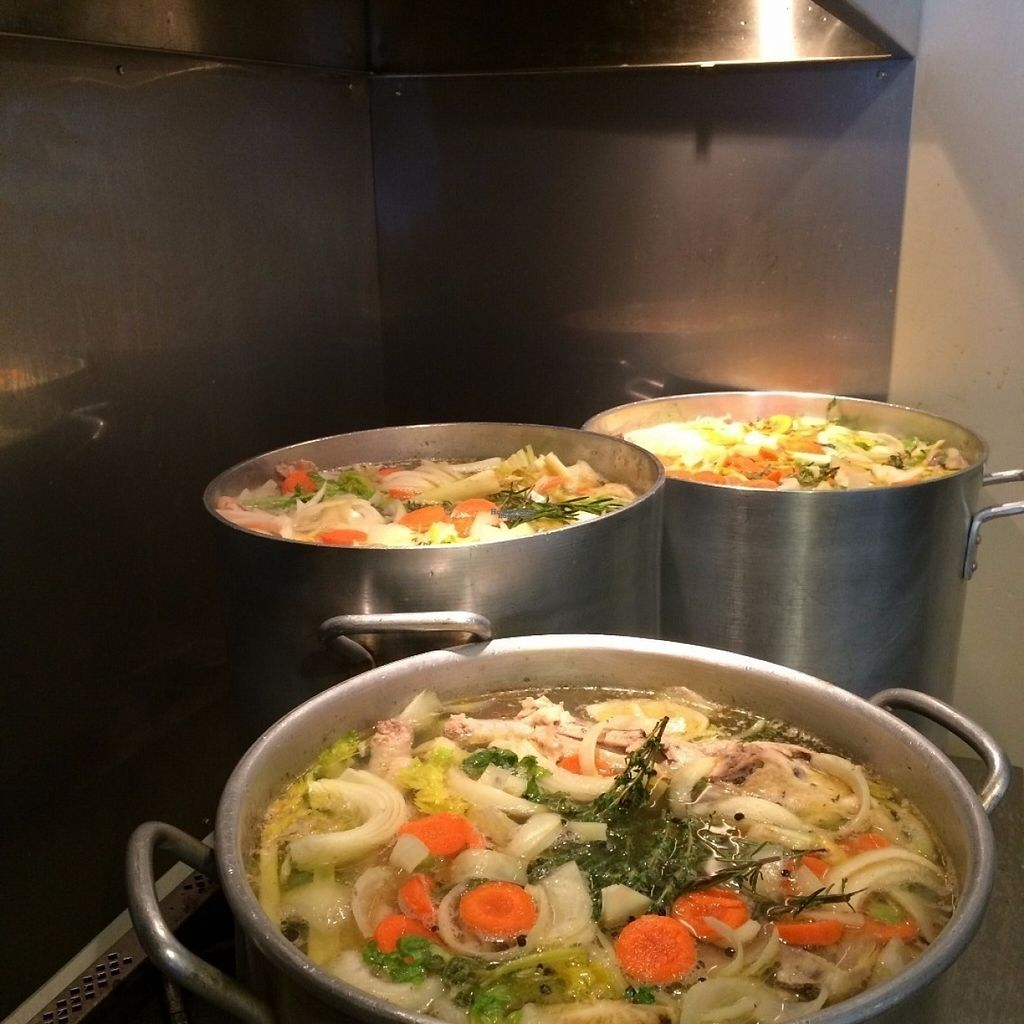 """Photo of Soup Surreal  by <a href=""""/members/profile/Soup_Girl"""">Soup_Girl</a> <br/>Stock Pots are on!! All Veggie Stock used in our soups are made in house, with no meat products. We sell stock frozen as well as a variety of vegetarian and vegan flavours <br/> August 21, 2016  - <a href='/contact/abuse/image/76502/170534'>Report</a>"""