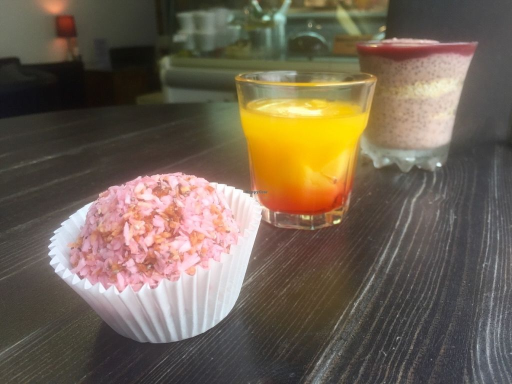 """Photo of Love Coffee  by <a href=""""/members/profile/Ben9985"""">Ben9985</a> <br/>Trio of desserts: coconut chia pudding, gelatine free peach Melba and a coconut dream ball.  <br/> July 13, 2016  - <a href='/contact/abuse/image/76520/159664'>Report</a>"""