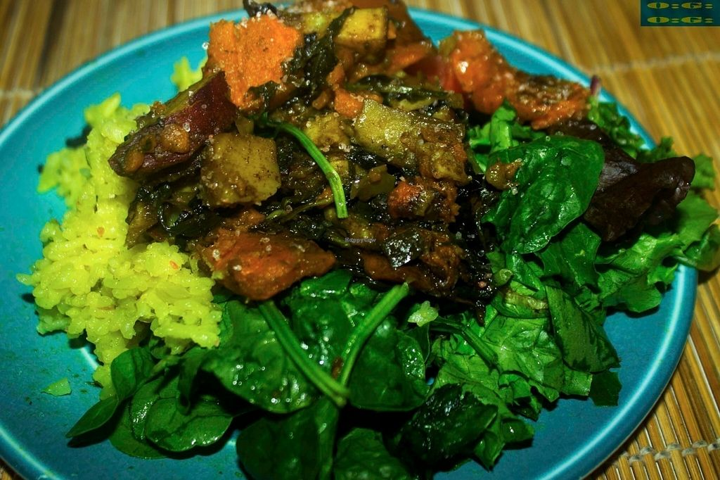 """Photo of Organic Garden   by <a href=""""/members/profile/Chef%20Soul"""">Chef Soul</a> <br/>Organic Spinach Boiled RIce with Baked Sweet Potatoes and Japanese Sweet Potatoes  <br/> July 14, 2016  - <a href='/contact/abuse/image/76555/159850'>Report</a>"""
