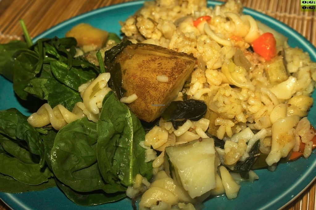 """Photo of Organic Garden   by <a href=""""/members/profile/Chef%20Soul"""">Chef Soul</a> <br/>Organic Russet Potatoes Field Mix  Spinach Tumeric Rosemary Pasta  <br/> July 16, 2016  - <a href='/contact/abuse/image/76555/160236'>Report</a>"""