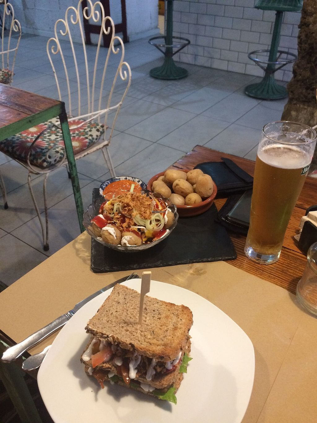 """Photo of Bioloco  by <a href=""""/members/profile/AbiM"""">AbiM</a> <br/>mojo potatotes, other potatoes, club sandwich burger <br/> March 11, 2018  - <a href='/contact/abuse/image/76580/369349'>Report</a>"""