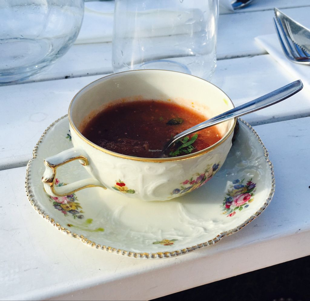 """Photo of Hornuddens Tradgard  by <a href=""""/members/profile/veganmom"""">veganmom</a> <br/>tasty gazpacho served in the cutest cup! <br/> July 15, 2016  - <a href='/contact/abuse/image/76596/160094'>Report</a>"""