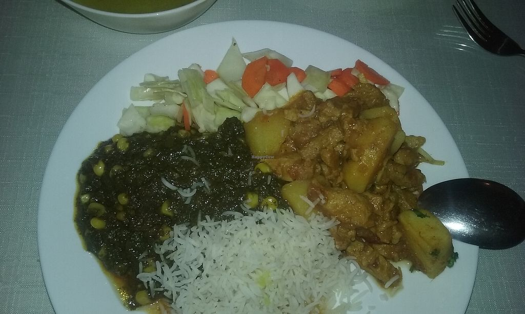 """Photo of Aroma Indian Restaurant  by <a href=""""/members/profile/laty"""">laty</a> <br/>Spinach with corn, potatoes with soy meat, rice and cabbage salad <br/> December 1, 2017  - <a href='/contact/abuse/image/76625/331159'>Report</a>"""