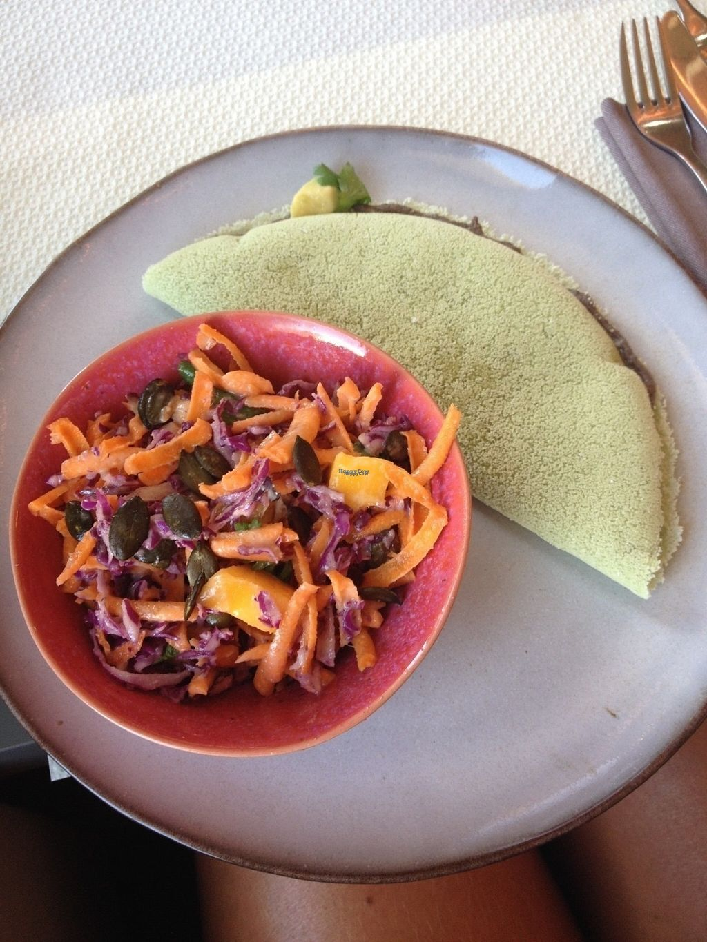 "Photo of Wild Girls Deli  by <a href=""/members/profile/SophieSerex"">SophieSerex</a> <br/>Tapioca crepe with black bean houmous, avocado, corn and tomatoes and a salad with red cabbage, grated carrots, mango and pumpkin seeds.  <br/> August 15, 2016  - <a href='/contact/abuse/image/76628/169093'>Report</a>"
