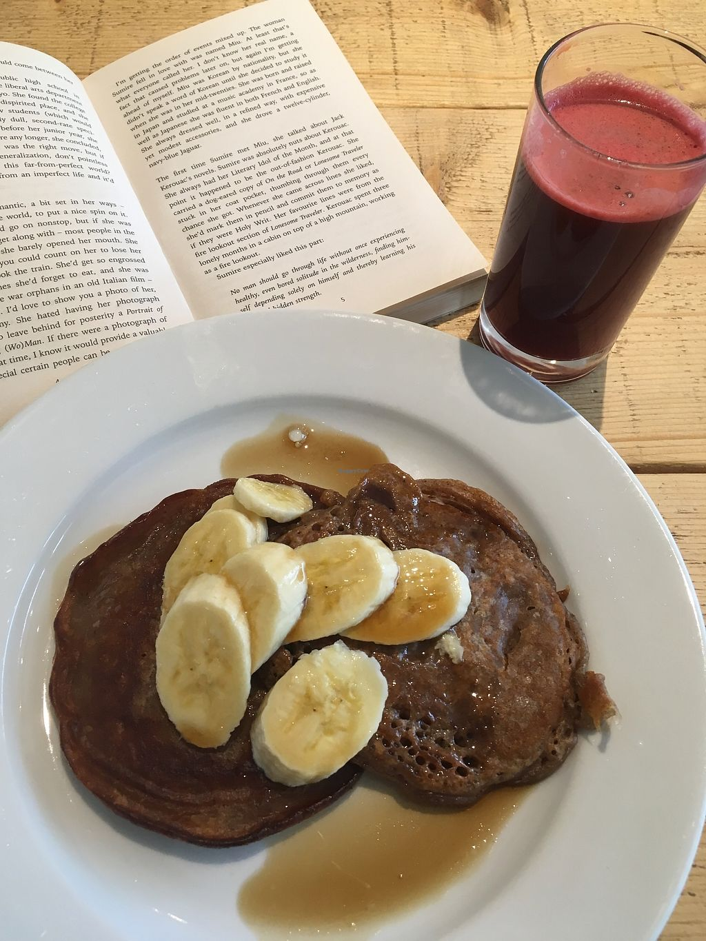 """Photo of Green Kitchen  by <a href=""""/members/profile/jojoinbrighton"""">jojoinbrighton</a> <br/>Pancakes with banana and syrup <br/> August 5, 2017  - <a href='/contact/abuse/image/76632/288977'>Report</a>"""