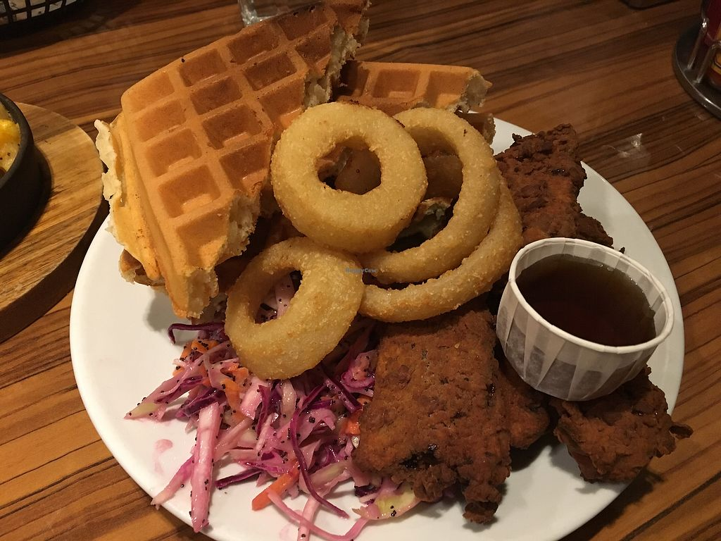 "Photo of The Diner - Strand  by <a href=""/members/profile/Kleeblatt"">Kleeblatt</a> <br/>Fried Seitan, Onion Rings, Waffles, cole slaw <br/> January 20, 2018  - <a href='/contact/abuse/image/76676/348812'>Report</a>"
