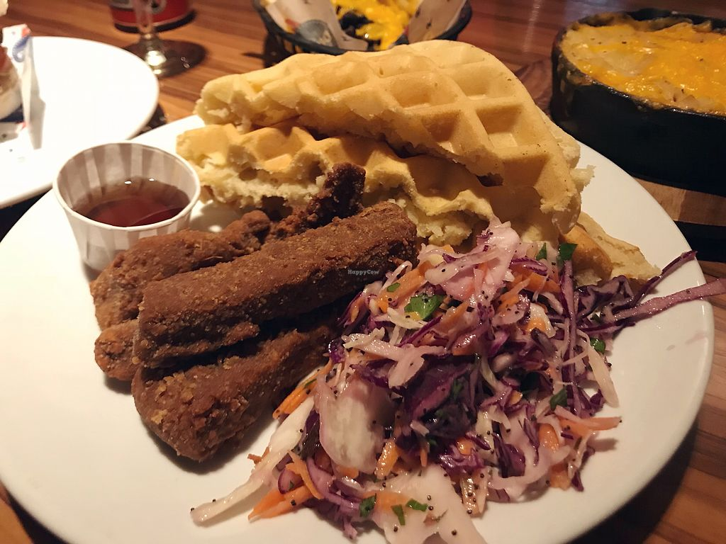 "Photo of The Diner - Strand  by <a href=""/members/profile/veganbetty5"">veganbetty5</a> <br/>Southern fried seitan with waffles  <br/> March 11, 2018  - <a href='/contact/abuse/image/76676/369375'>Report</a>"