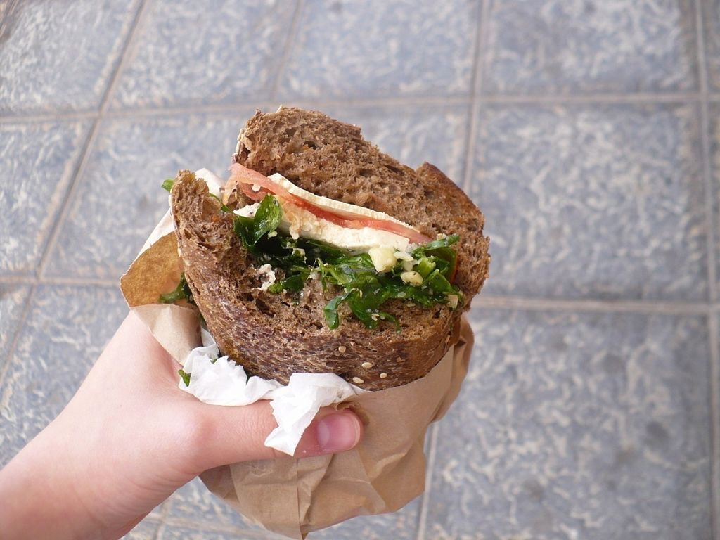 """Photo of Cecicafe  by <a href=""""/members/profile/ellengdx"""">ellengdx</a> <br/>Sandwich to-go, 2,50e! Homemade bread with tofu, tomatoes, spinach, seeds and olive dressing.  <br/> July 18, 2016  - <a href='/contact/abuse/image/76683/160751'>Report</a>"""