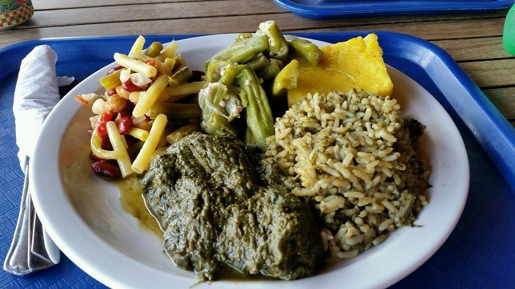 """Photo of Creole Shack  by <a href=""""/members/profile/Conniemm"""">Conniemm</a> <br/>My lunch from top: okra, cou cou, rice with calaloo, calaloo, 3 bean salad <br/> July 17, 2016  - <a href='/contact/abuse/image/76688/160382'>Report</a>"""