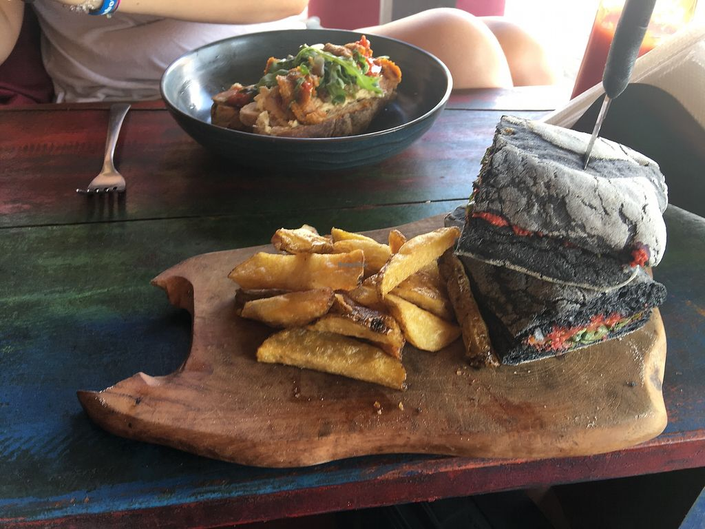 """Photo of Mowie's   by <a href=""""/members/profile/romaniano"""">romaniano</a> <br/>Beetred Paté, w/ fries, charcoal colored buns  <br/> August 26, 2017  - <a href='/contact/abuse/image/76717/297383'>Report</a>"""