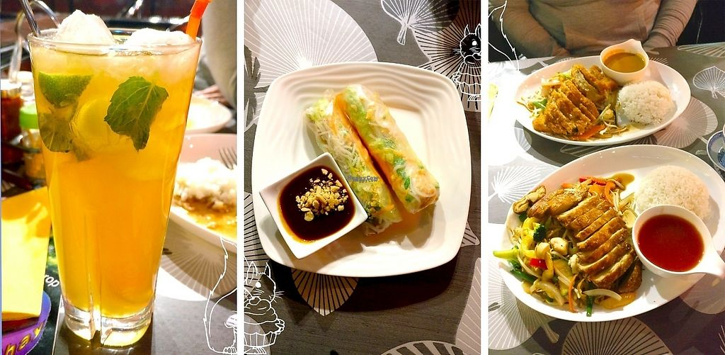 """Photo of Chay Vegan Cuisine  by <a href=""""/members/profile/SquirrelofNOM"""">SquirrelofNOM</a> <br/>Lemonade, summer rolls, crispy mock chicken and cripsy mock duck (with a saté and a sweet and sour sauce)  Limonade, Sommerrollen, knuspriges """"Hühnchen"""" und knusprige """"Ente"""" (mit Erdnusssauce und süßsaurer Sauce) <br/> March 5, 2017  - <a href='/contact/abuse/image/76721/233198'>Report</a>"""