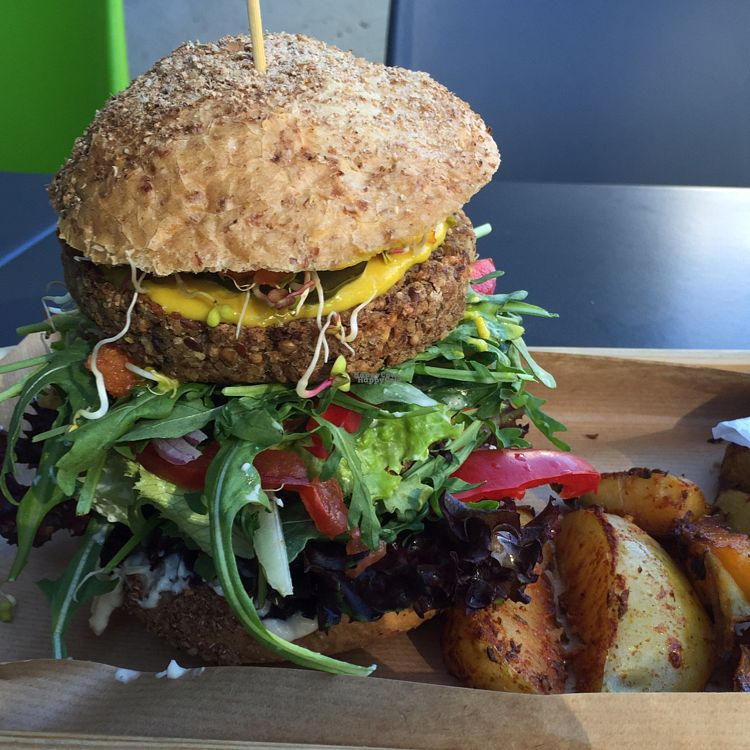 """Photo of CLOSED: Fit & Green  by <a href=""""/members/profile/The%20London%20Vegan"""">The London Vegan</a> <br/>biggest vegan burger ever!!!  <br/> September 19, 2016  - <a href='/contact/abuse/image/76723/176760'>Report</a>"""