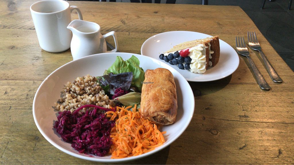 """Photo of The Planet Cafe  by <a href=""""/members/profile/whitmore6"""">whitmore6</a> <br/>'Not Sausage' Roll, Salad & Cake <br/> October 18, 2017  - <a href='/contact/abuse/image/76724/316350'>Report</a>"""