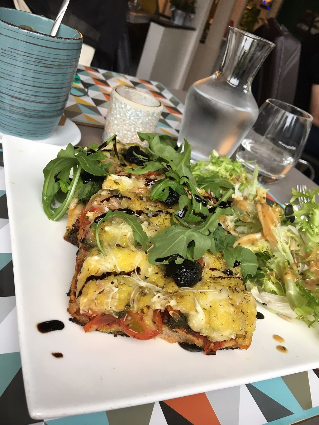 """Photo of L'Eden Sans Gluten  by <a href=""""/members/profile/tcsengusz"""">tcsengusz</a> <br/>pizza slices w/ tomato and lots of vegan cheese and balsamic vinaigrette <br/> July 27, 2017  - <a href='/contact/abuse/image/76725/285437'>Report</a>"""