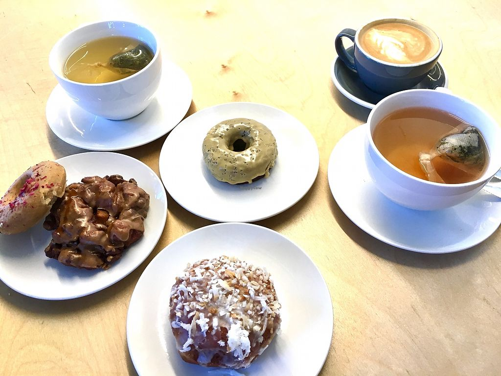 "Photo of Cartems Donuterie - Kitsilano  by <a href=""/members/profile/vegan%20frog"">vegan frog</a> <br/>Donuts and tea <br/> October 13, 2017  - <a href='/contact/abuse/image/76735/314728'>Report</a>"