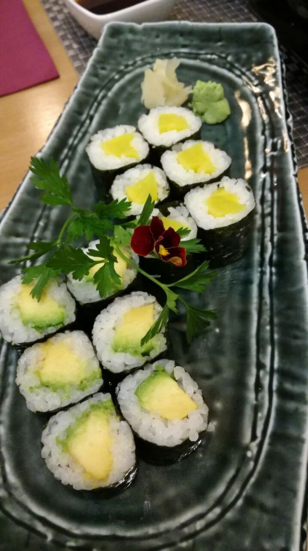 """Photo of Yamazaki Sushi  by <a href=""""/members/profile/JM73"""">JM73</a> <br/>Vegan maki sushi (cucumber and avocado) <br/> August 1, 2016  - <a href='/contact/abuse/image/76744/164110'>Report</a>"""
