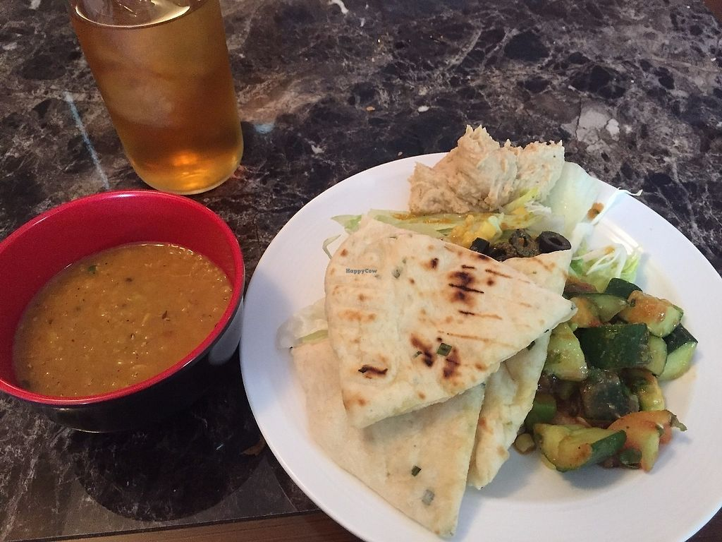 "Photo of Everest Kitchen  by <a href=""/members/profile/SamanthaIngridHo"">SamanthaIngridHo</a> <br/>Lentil Soup, Naan Bread, Salad and Hummus <br/> June 19, 2017  - <a href='/contact/abuse/image/76762/270762'>Report</a>"