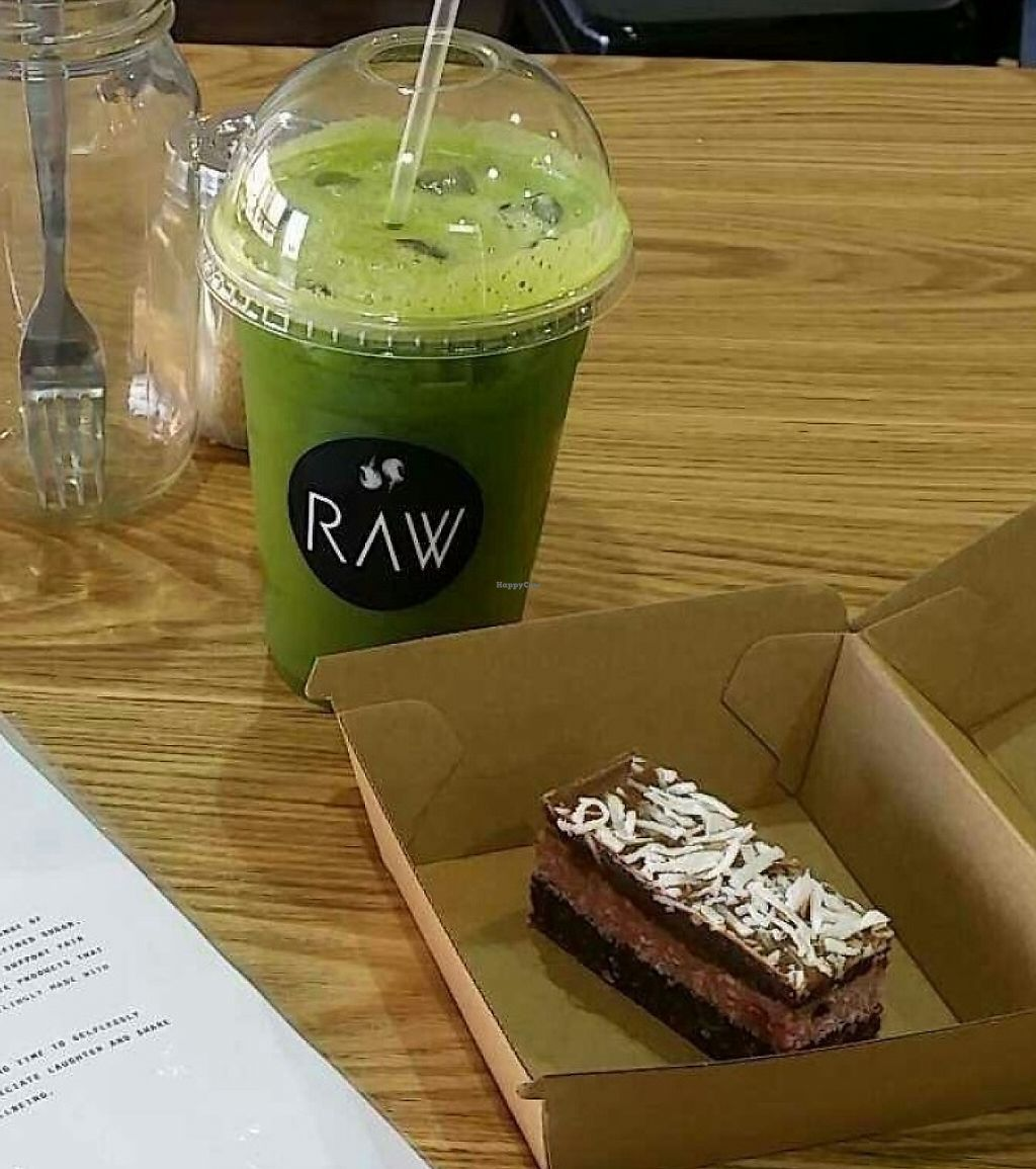 "Photo of RAW  by <a href=""/members/profile/MaddieLucas"">MaddieLucas</a> <br/>Green Zinger cold pressed juice and Raw Cherry Ripe bar <br/> July 20, 2016  - <a href='/contact/abuse/image/76769/255655'>Report</a>"