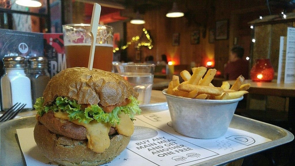"""Photo of The Deaf Institute Bar and Kitchen  by <a href=""""/members/profile/Marjukene"""">Marjukene</a> <br/>vegan burger menu <br/> June 20, 2017  - <a href='/contact/abuse/image/76794/271498'>Report</a>"""
