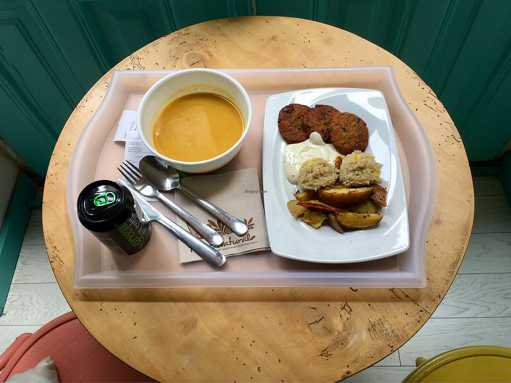 """Photo of Great Bistro  by <a href=""""/members/profile/lgodinhoramos"""">lgodinhoramos</a> <br/>Soup, aubergine fritters, quinoa & potatoes  <br/> May 16, 2018  - <a href='/contact/abuse/image/76811/400594'>Report</a>"""