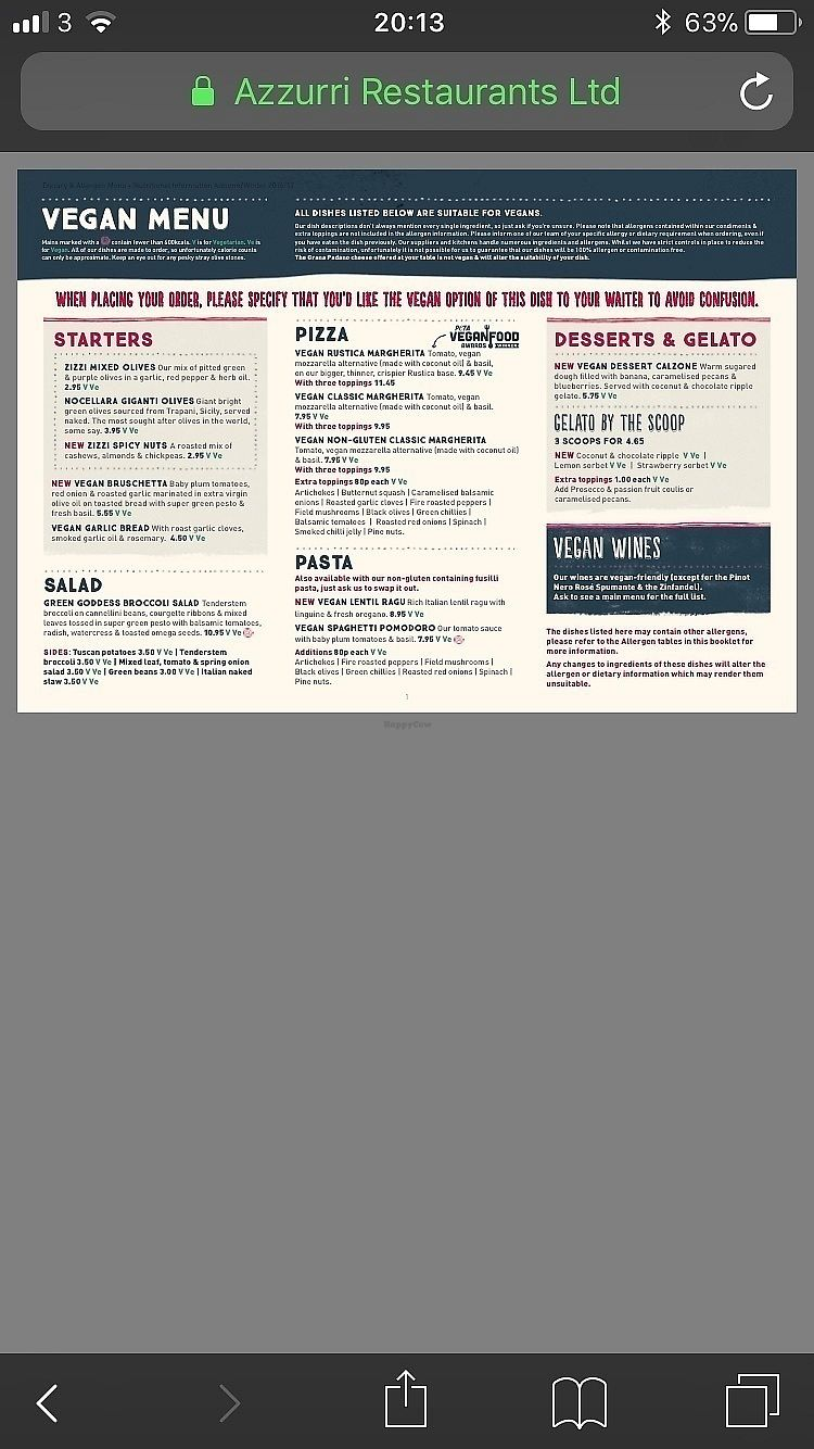 """Photo of Zizzi  by <a href=""""/members/profile/VeganBuddhist93"""">VeganBuddhist93</a> <br/>Zizzi Vegan Menu <br/> November 26, 2017  - <a href='/contact/abuse/image/76831/329468'>Report</a>"""