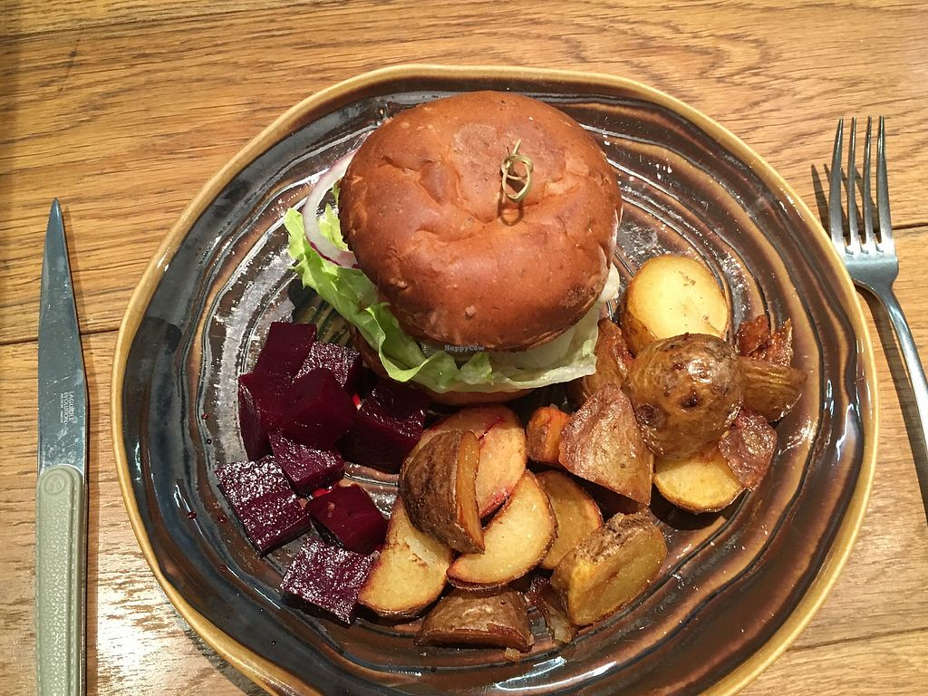 """Photo of Mr. Farmer - Shinjuku  by <a href=""""/members/profile/MalinIvarsson"""">MalinIvarsson</a> <br/>Their vegan burger for 2257 yen.  <br/> April 24, 2018  - <a href='/contact/abuse/image/76852/390493'>Report</a>"""