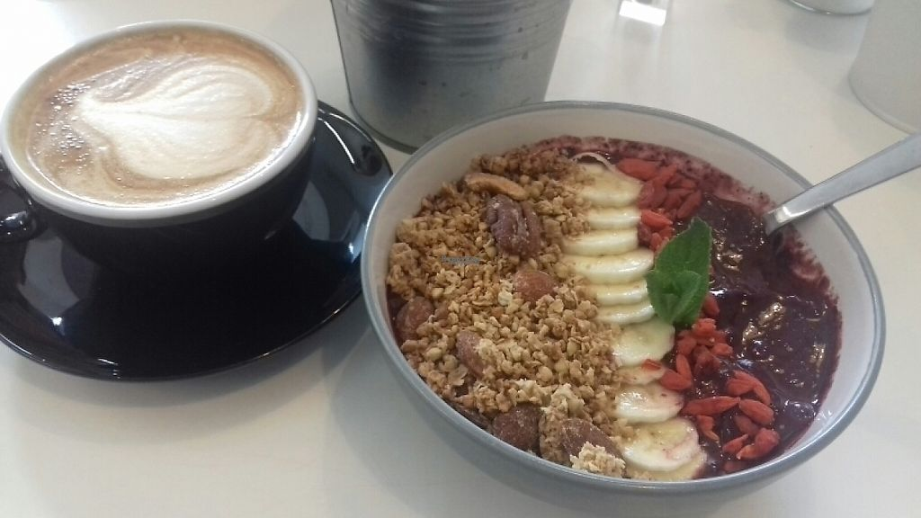 """Photo of Grams  by <a href=""""/members/profile/Rebca_damson"""">Rebca_damson</a> <br/>smoothie bowl and soy latte <br/> March 15, 2017  - <a href='/contact/abuse/image/76872/236867'>Report</a>"""