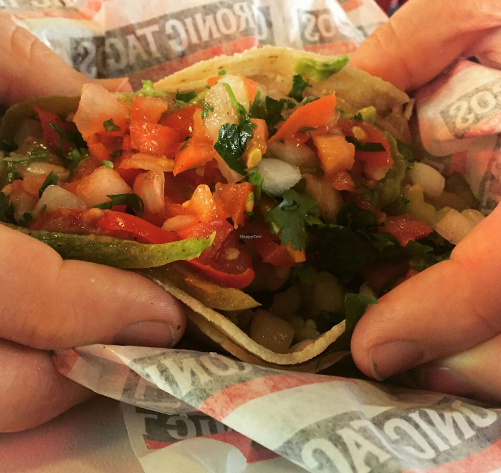 """Photo of Chronic Tacos Mexican Grill  by <a href=""""/members/profile/VeganCookieLover"""">VeganCookieLover</a> <br/>Veggie Taco <br/> July 21, 2016  - <a href='/contact/abuse/image/76891/207828'>Report</a>"""