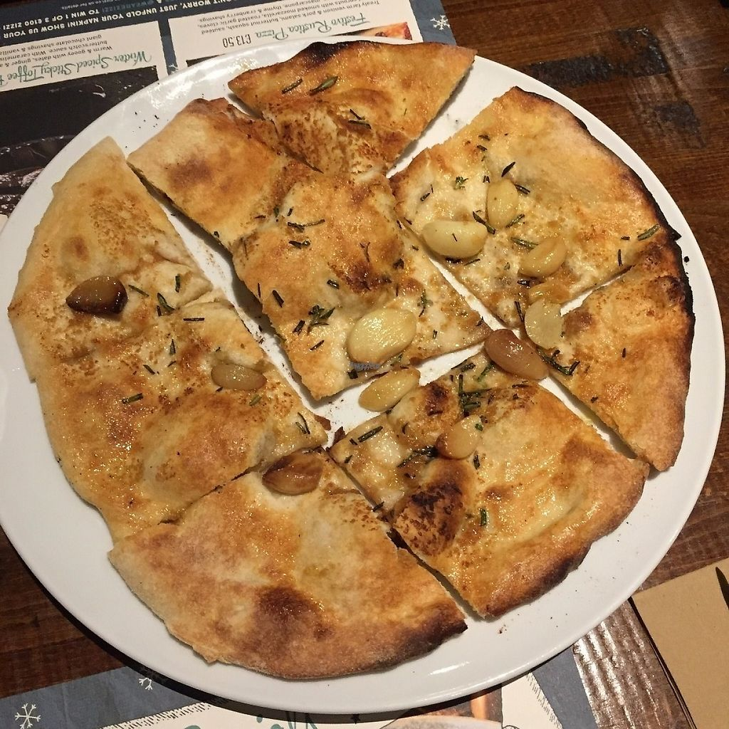 """Photo of Zizzi  by <a href=""""/members/profile/GreatVeganExp"""">GreatVeganExp</a> <br/>Vegan garlic bread <br/> January 21, 2017  - <a href='/contact/abuse/image/76903/214273'>Report</a>"""