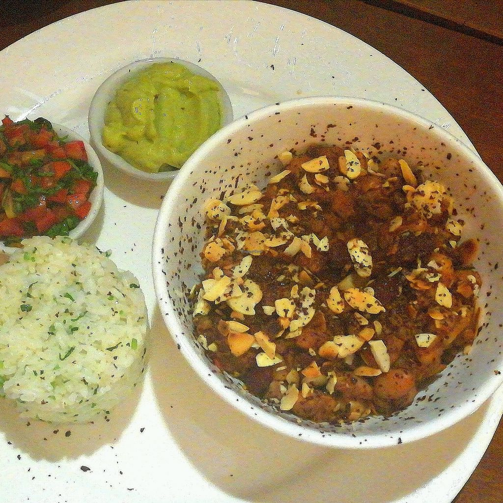 """Photo of The Veg G Table Cafe  by <a href=""""/members/profile/ThomNibbelin"""">ThomNibbelin</a> <br/>Special of the day: chocolate lentil 3-bean chilli with rice, tomato, and guac. Fabulous! <br/> September 27, 2017  - <a href='/contact/abuse/image/76909/309070'>Report</a>"""