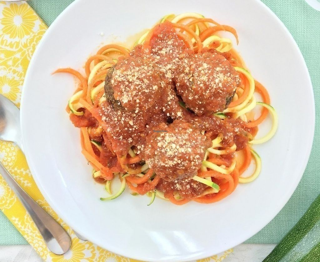"""Photo of Sprinly  by <a href=""""/members/profile/raylui"""">raylui</a> <br/>Zucchini noodle pasta with plant-balls and cashew """"prm"""" <br/> July 23, 2016  - <a href='/contact/abuse/image/76917/216639'>Report</a>"""