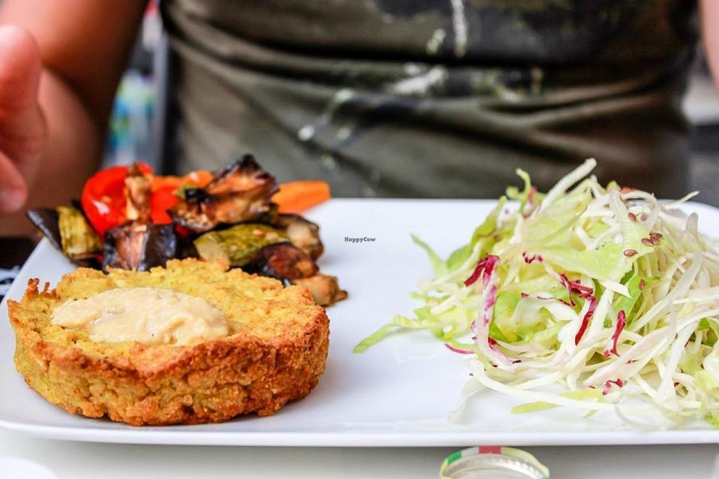 "Photo of Rosetta   by <a href=""/members/profile/SueClesh"">SueClesh</a> <br/>red lentil burger with ratatouille and salad <br/> July 21, 2016  - <a href='/contact/abuse/image/76918/161463'>Report</a>"