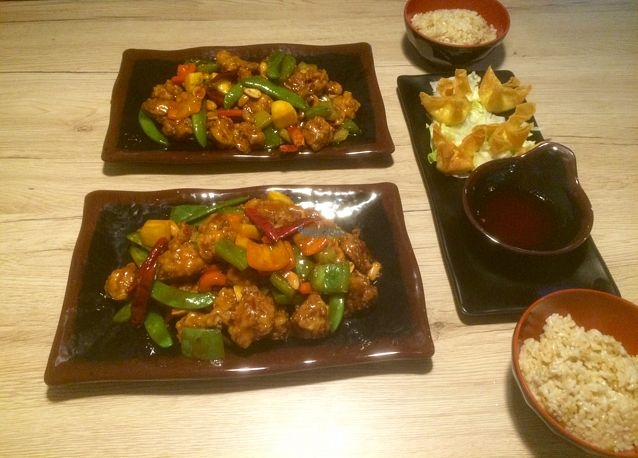 """Photo of Veggie Village  by <a href=""""/members/profile/Megandewar15"""">Megandewar15</a> <br/>Kung pao vchicken & vegan cream cheese wontons <br/> August 27, 2016  - <a href='/contact/abuse/image/76977/171673'>Report</a>"""