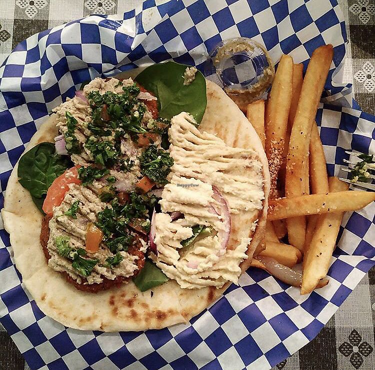 "Photo of Nostimo Mediterranean Cafe  by <a href=""/members/profile/mariahss3"">mariahss3</a> <br/>Falafel gyro with baba ganoush and tabbouleh <br/> January 20, 2018  - <a href='/contact/abuse/image/76982/349071'>Report</a>"