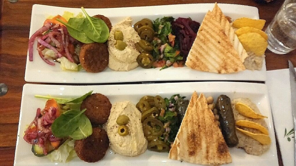 """Photo of Zeytuun  by <a href=""""/members/profile/NHT"""">NHT</a> <br/>Two of the mezes. Upper one had fava beans and beets, lower one had chickpeas and dolmas <br/> February 13, 2018  - <a href='/contact/abuse/image/77024/358890'>Report</a>"""