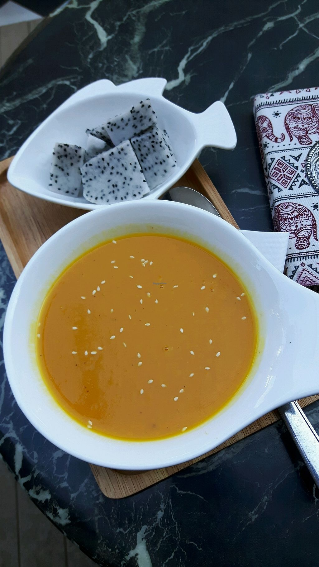 """Photo of Coco&Co.  by <a href=""""/members/profile/CharityBosua"""">CharityBosua</a> <br/>Pumpkin soup with fruits instead of bread (Bread not vegan) <br/> January 13, 2018  - <a href='/contact/abuse/image/77059/346031'>Report</a>"""