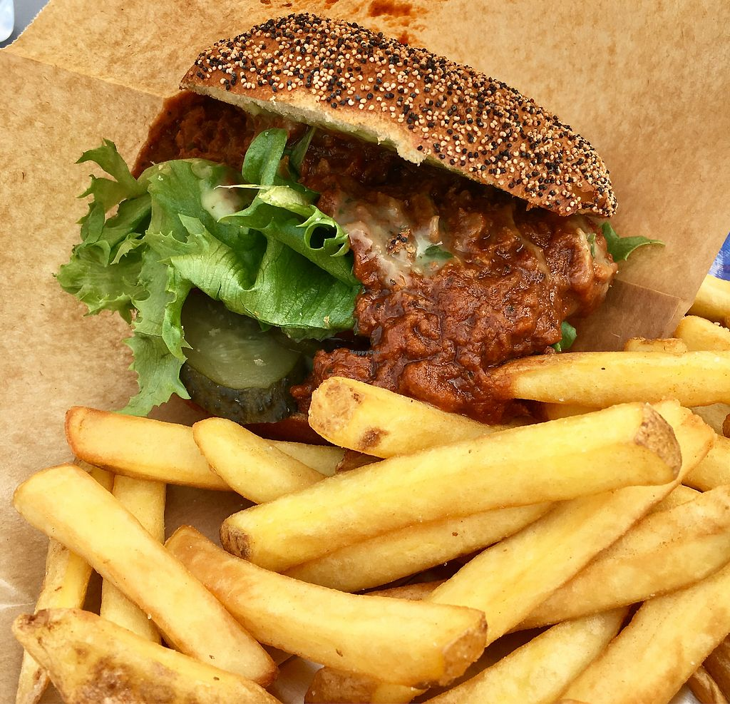 "Photo of Löyly  by <a href=""/members/profile/SeitanSeitanSeitan"">SeitanSeitanSeitan</a> <br/>Vegan burger with pulled oats.  <br/> September 15, 2017  - <a href='/contact/abuse/image/77062/304719'>Report</a>"