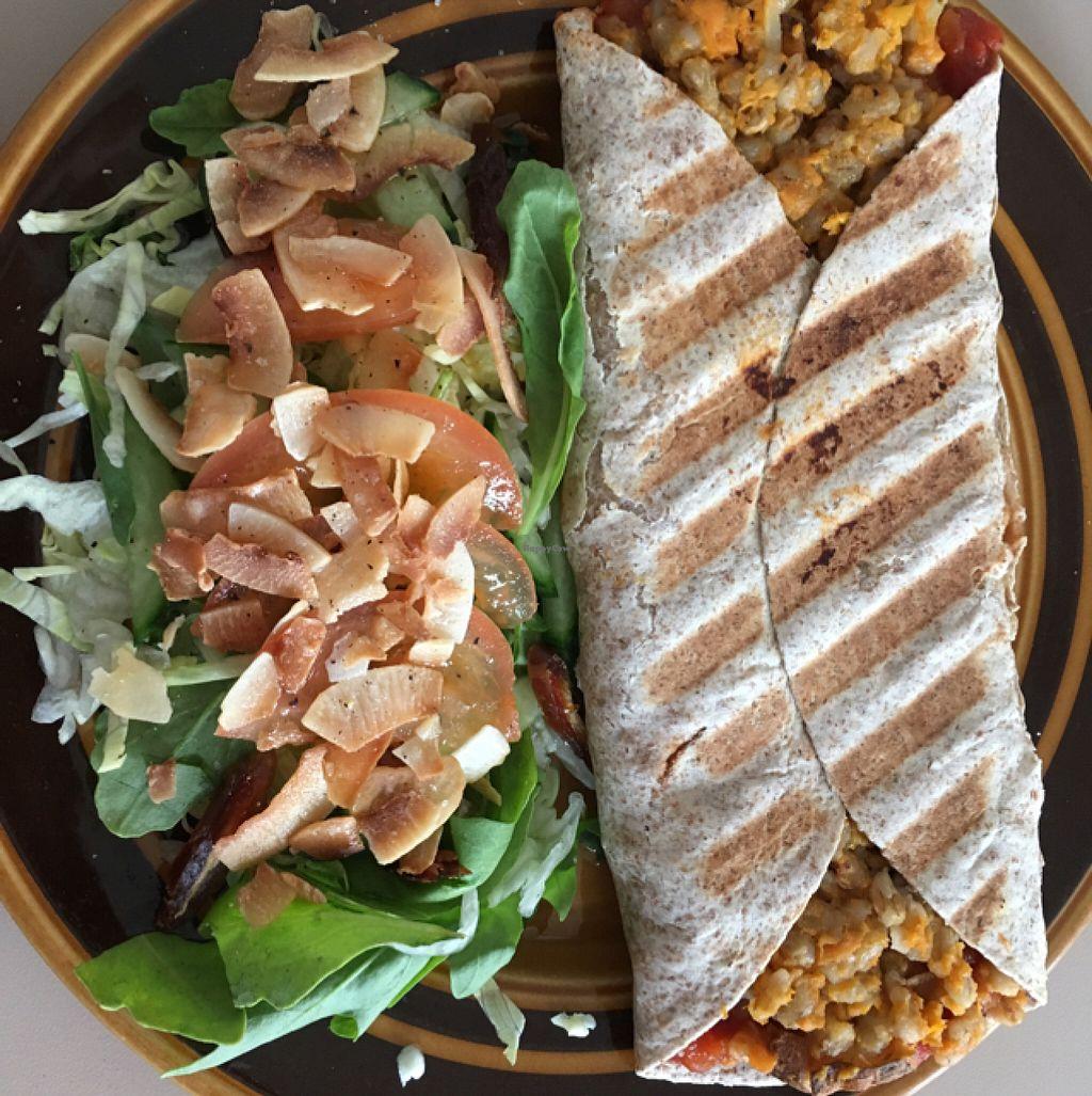 "Photo of Braedraborg  by <a href=""/members/profile/Vegan%20Venturer"">Vegan Venturer</a> <br/>vegan sweet potato bulgar wrap with salad <br/> July 26, 2016  - <a href='/contact/abuse/image/77076/162384'>Report</a>"