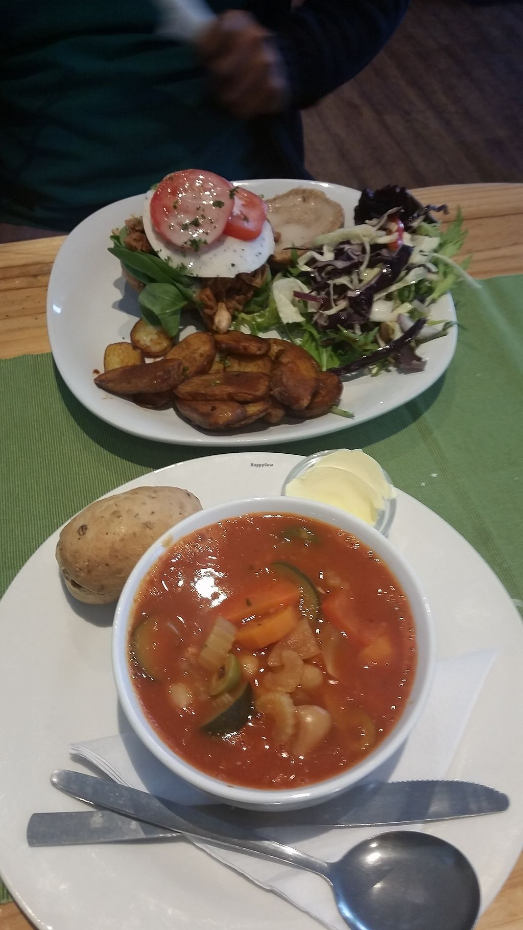 """Photo of Caffi Pura  by <a href=""""/members/profile/konlish"""">konlish</a> <br/>Butternut Soup and pulled Jackfruit burger special <br/> June 23, 2017  - <a href='/contact/abuse/image/77095/272691'>Report</a>"""