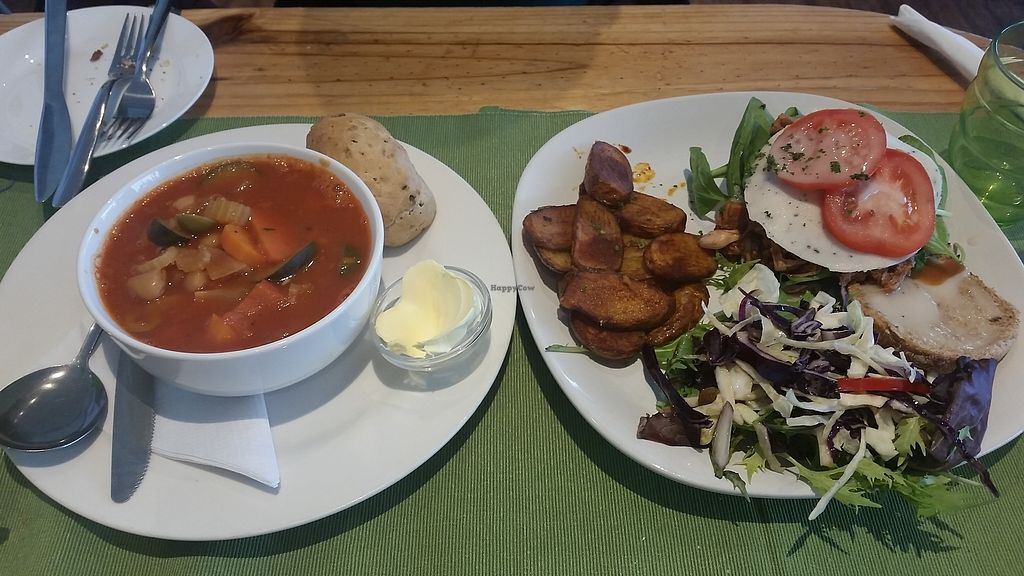 """Photo of Caffi Pura  by <a href=""""/members/profile/konlish"""">konlish</a> <br/>Butternut Soup and pulled Jackfruit burger special  <br/> June 23, 2017  - <a href='/contact/abuse/image/77095/272693'>Report</a>"""