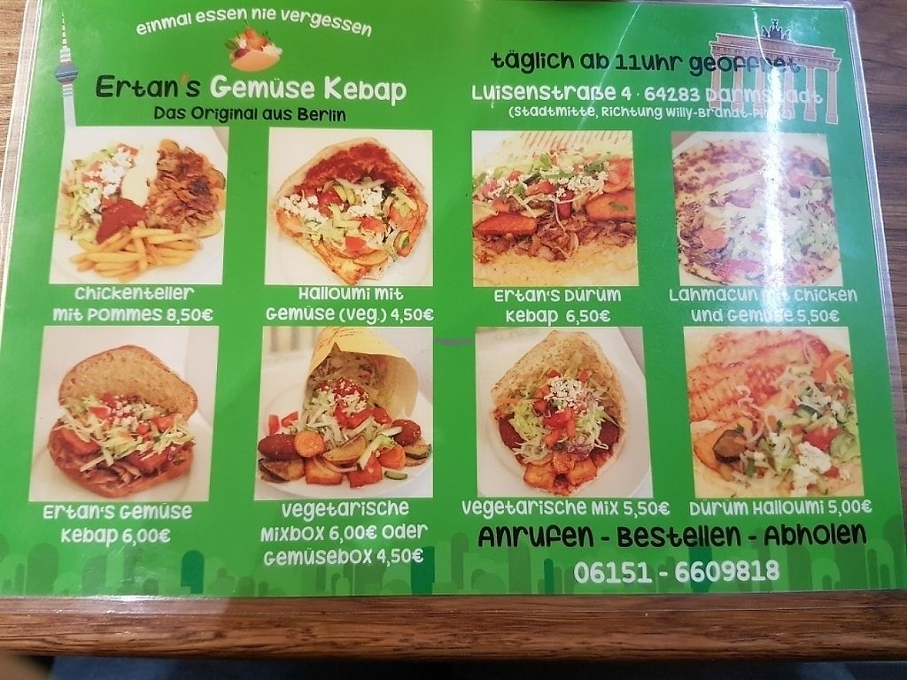 """Photo of Ertan's Gemuse Kebap  by <a href=""""/members/profile/vanessa7848"""">vanessa7848</a> <br/>menu <br/> March 12, 2017  - <a href='/contact/abuse/image/77112/235550'>Report</a>"""