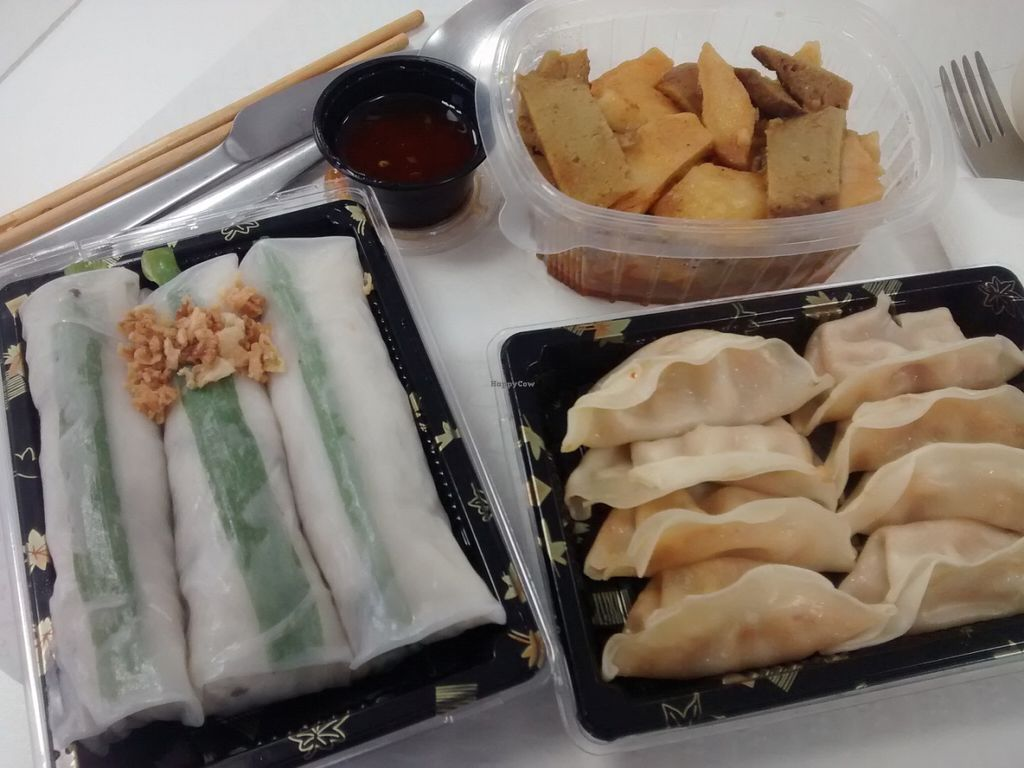 """Photo of Nan-yea Market  by <a href=""""/members/profile/LeFunks"""">LeFunks</a> <br/>Seitan curry, veggie gyozas, thai summer rolls  <br/> July 28, 2016  - <a href='/contact/abuse/image/77119/162916'>Report</a>"""