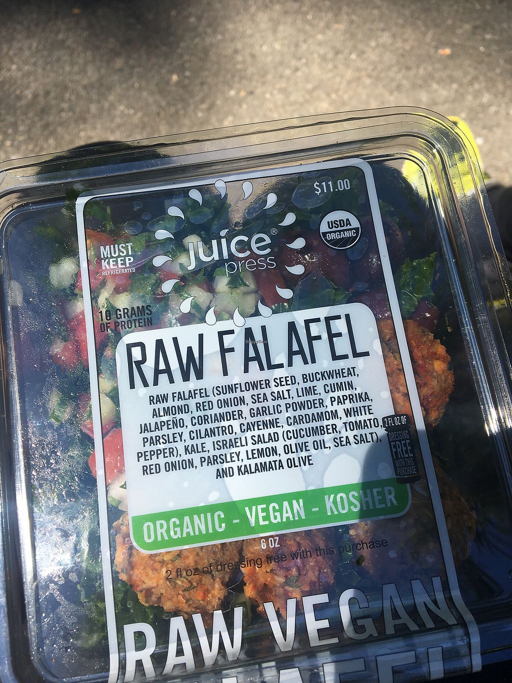 """Photo of Juice Press - Midtown East  by <a href=""""/members/profile/CathrineGaraguso"""">CathrineGaraguso</a> <br/>Raw falafel salad <br/> August 3, 2017  - <a href='/contact/abuse/image/77149/288318'>Report</a>"""