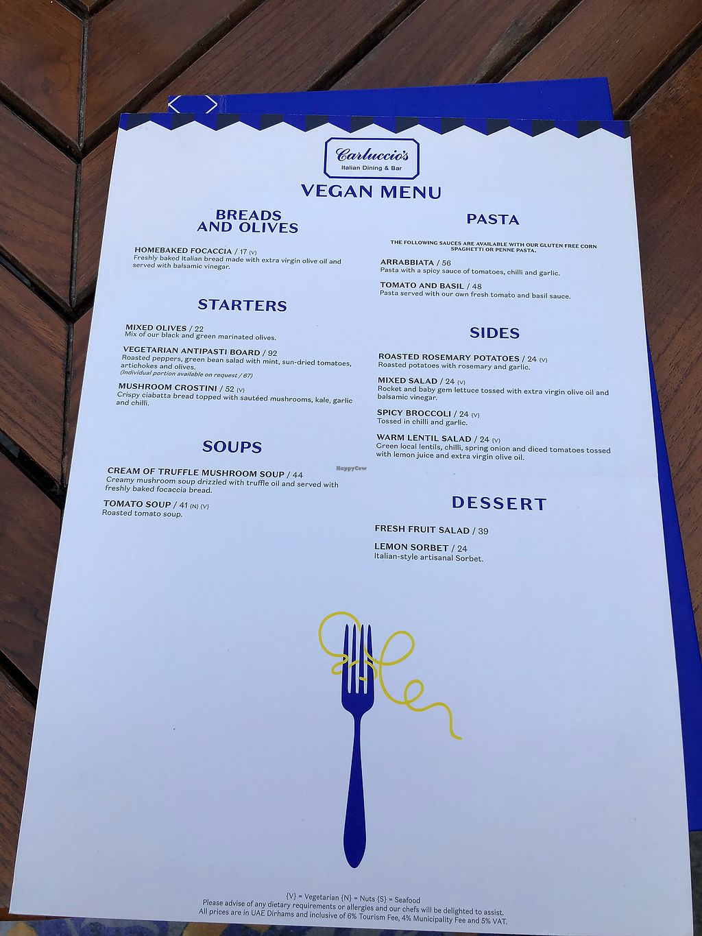 """Photo of Carluccio's  by <a href=""""/members/profile/KrystaRaeRingler"""">KrystaRaeRingler</a> <br/>This is the vegan menu for the day I went <br/> January 31, 2018  - <a href='/contact/abuse/image/77156/353146'>Report</a>"""