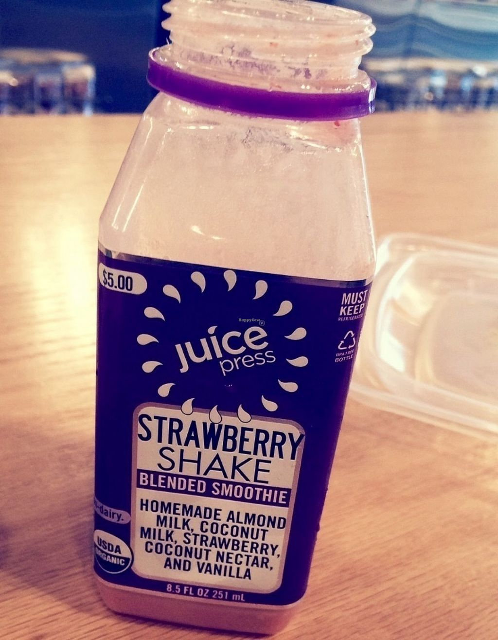 """Photo of Juice Press  by <a href=""""/members/profile/VeganVegabond"""">VeganVegabond</a> <br/>Strawberry shake to go <br/> July 26, 2016  - <a href='/contact/abuse/image/77195/162529'>Report</a>"""