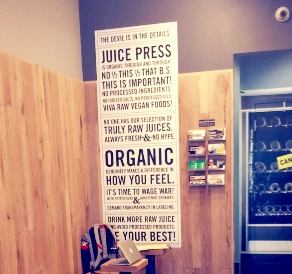 """Photo of Juice Press  by <a href=""""/members/profile/VeganVegabond"""">VeganVegabond</a> <br/>Silly slogan  <br/> July 26, 2016  - <a href='/contact/abuse/image/77195/162530'>Report</a>"""