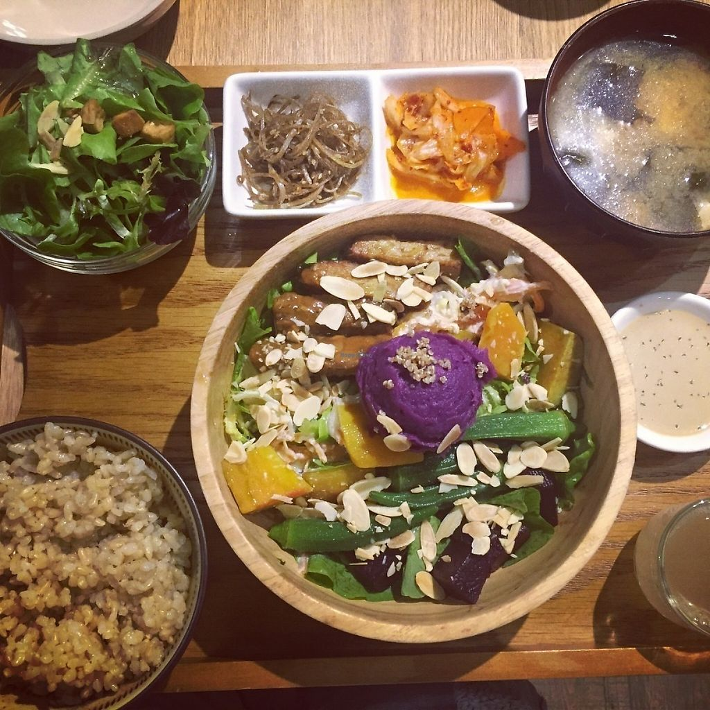 """Photo of Flourish  by <a href=""""/members/profile/Jolamming"""">Jolamming</a> <br/>Set meal of tempeh salad,rice,miso,salad,pickles and kombucha <br/> May 23, 2017  - <a href='/contact/abuse/image/77235/261617'>Report</a>"""
