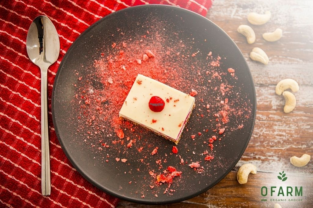 """Photo of oFarm Organic Cafe  by <a href=""""/members/profile/oFarmManly"""">oFarmManly</a> <br/>Raw Vegan Rasberry Cheese Cake <br/> August 30, 2016  - <a href='/contact/abuse/image/77259/172352'>Report</a>"""