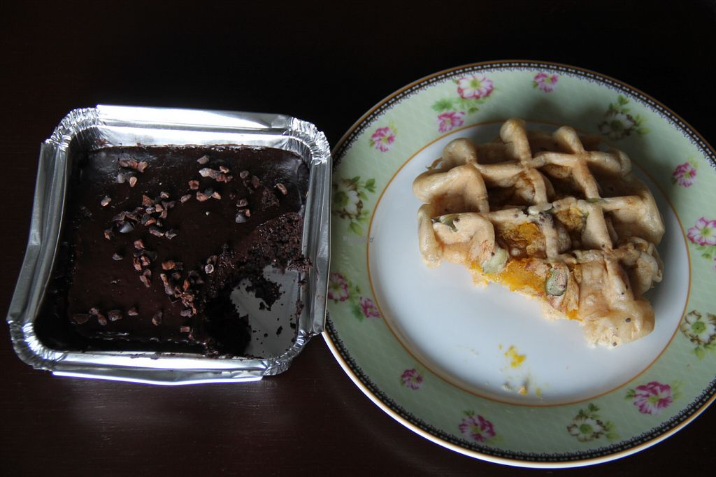"""Photo of Greenheart  by <a href=""""/members/profile/reissausta%20ja%20ruokaa"""">reissausta ja ruokaa</a> <br/>Vegan chocolate cake and tofu waffle.  <br/> October 13, 2016  - <a href='/contact/abuse/image/77330/181752'>Report</a>"""